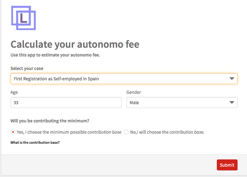 Calculate your autonomo fee